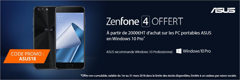 ASUS vous offre votre ZenFone 4 à partir de 2 000¤HT d'achat sur les PC portables ASUS en Windows 10 Pro.