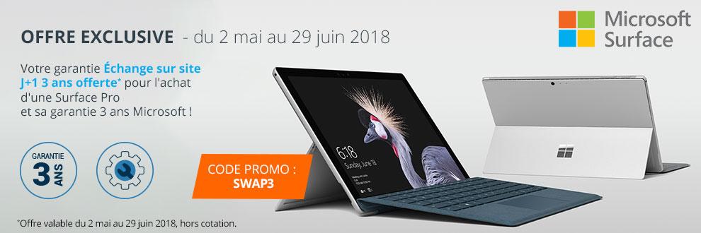 Votre garantie Échange sur site J+1 3 ans offerte pour l'achat d'une Surface Pro et sa garantie 3 ans Microsoft !*