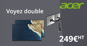 Deux moniteurs Acer et son support Newstar