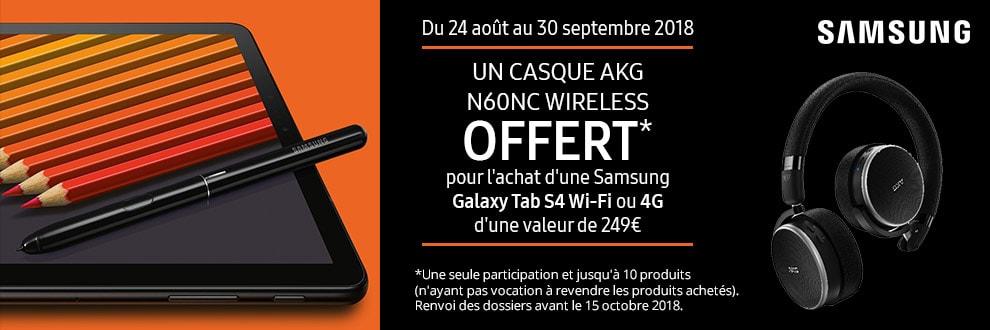 Un casque AKG offert pour l'achat de votre Samsung Galaxy Tab S4
