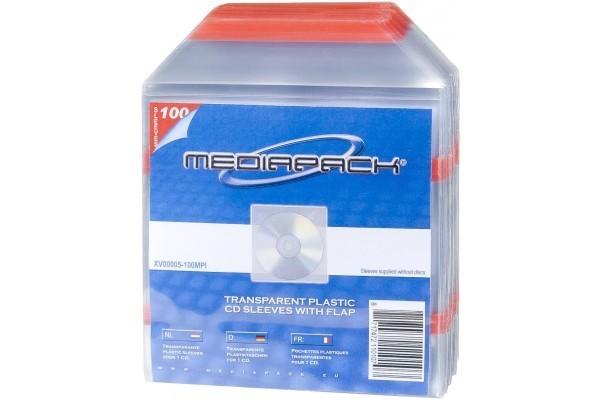 100 Pochettes Plastiques Avec Rabat Pour 1Cd - Dos Adhesif
