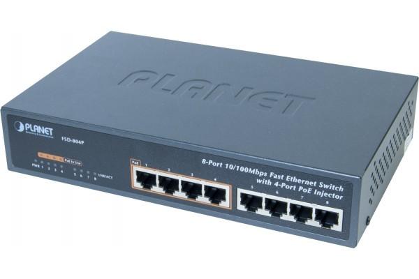 Planet FSD-804P switch 10 métal 8P 10/100 dont 4 PoE 65W