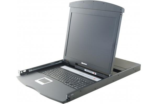 Dexlan console lcd 19 dual rail kvm 8P VGA/PS2-USB + cables