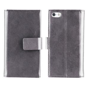Muvit - étui magnet wallet argent - Apple iPhone 5S/SE