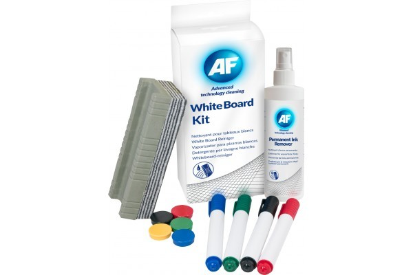 AF Kit de nettoyage pour tableaux blancs + crayons + tampon
