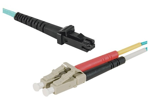 Jarretière optique duplex multimode OM3 50/125 MTRJ-UPC/LC-UPC aqua - 10 m