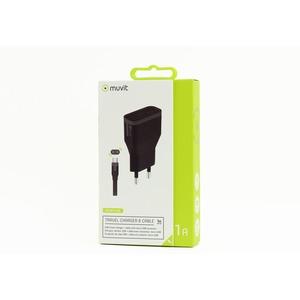 Muvit - tab pack chargeur secteur 1USB+ câble connecteur micro USB noir