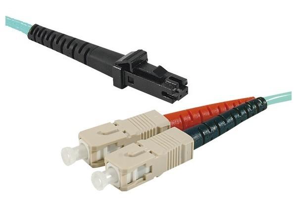 Jarretière optique duplex multimode OM3 50/125 MTRJ-UPC/SC-UPC aqua - 10 m
