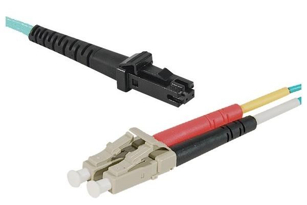 Jarretière optique duplex multimode OM3 50/125 MTRJ-UPC/LC-UPC aqua - 5 m