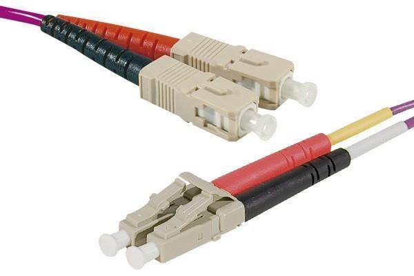 Jarretière optique duplex multimode OM4 50/125 SC-UPC/LC-UPC erika - 0,5 m