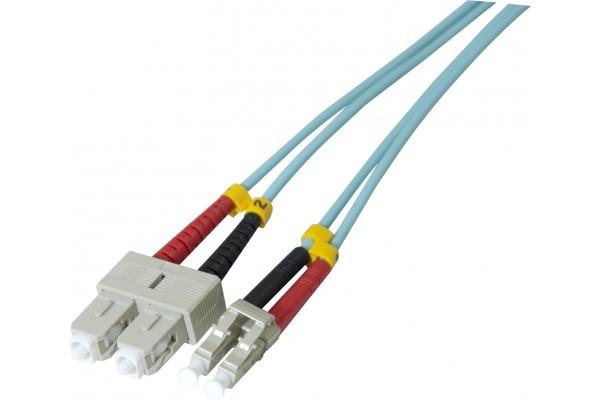 Jarretière optique duplex multimode OM3 50/125 SC-UPC/LC-UPC aqua - 50 m
