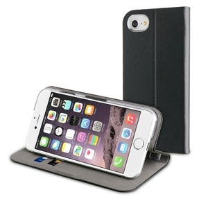 Etui folio fit croute de cuir noir pour Apple Iphone 7