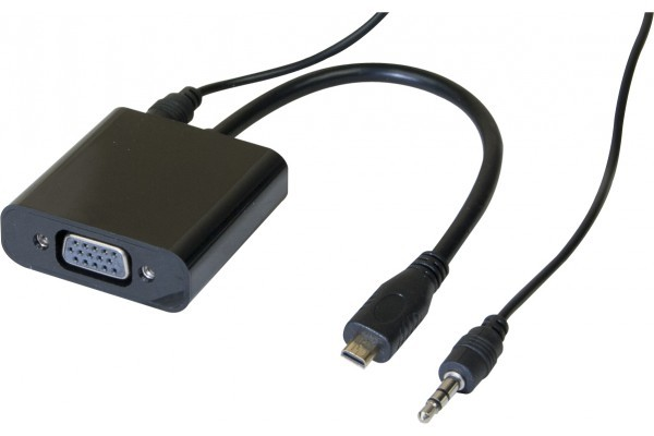 Convertisseur micro HDMI vers VGA + audio