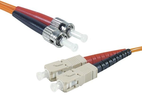 Jarretière optique duplex 2.0 mm multi OM1 62,5/125 ST-UPC/SC-UPC orange - 10 m