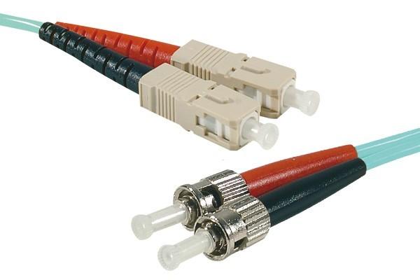 Jarretière optique duplex HD multi OM3 50/125 ST-UPC/SC-UPC aqua - 1 m