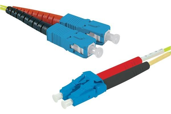 Jarretière optique duplex 2.0 mm mono OS2 9/125 SC-UPC/LC-UPC jaune - 5 m