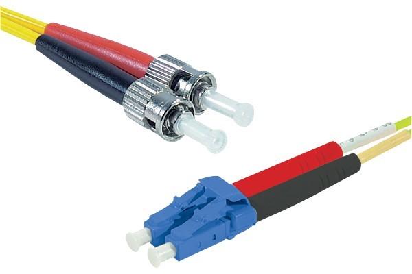 Jarretière optique duplex 2.0 mm mono OS2 9/125 LC-UPC/ST-UPC jaune - 1 m