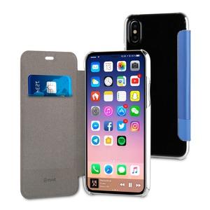 Etui folio, case edition, double pu, bleu, pour Apple Iphone X