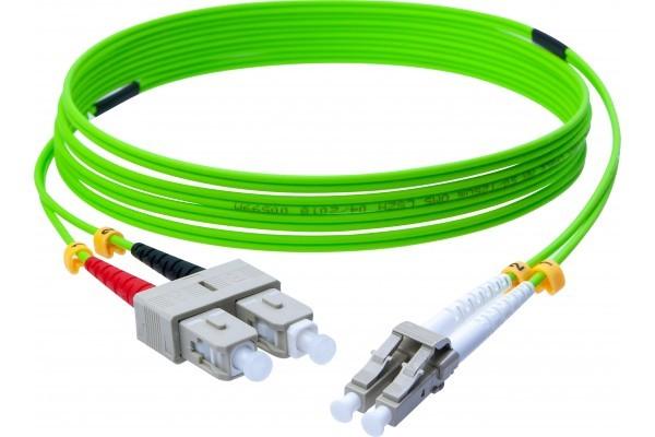 Jarretière optique duplex HD multi OM5 50/125 SC-UPC/LC-UPC vert - 3 m