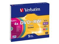 Verbatim Colours - DVD+RW x 5 - 4.7 Go - support de stockage