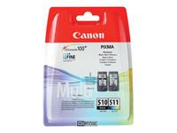 Canon PG-510 / CL-511 Multi pack - pack de 2 - noir, couleur (cyan, magenta, jaune) - originale - cartouche d'encre
