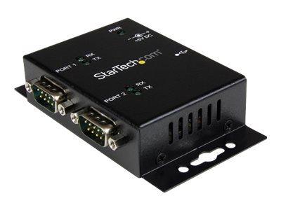 StarTech.com Hub adaptateur industriel USB vers serie 2ports à fixation murale avec clips de railDIN