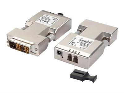 LINDY Fibre Optic DVI-D Extender (Transmitter and Receiver units) - rallonge vidéo