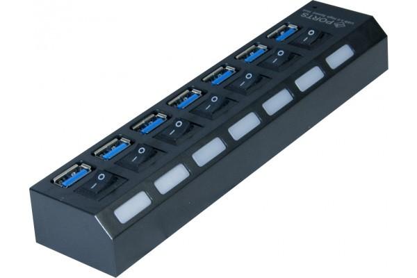 Hub 7 ports USB 3.0 avec interrupteurs