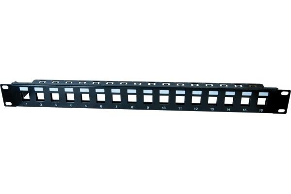 DEXLAN Panneau 1U 16 ports STP keystone avec support cables