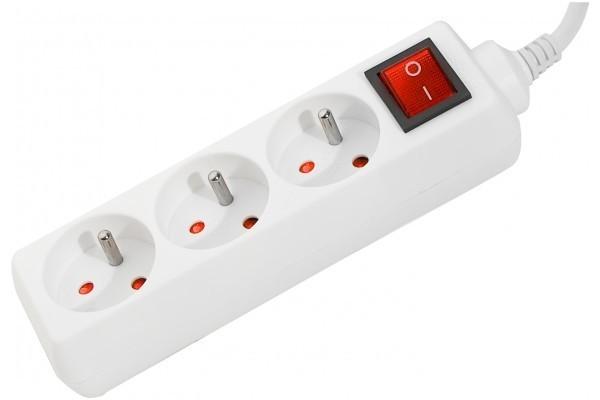 DEXLAN Multiprise 3 prises avec interrupteur blanche - 0,8 m