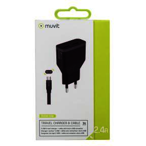Pack black travel charger 2 usb + cable micro usb 1m