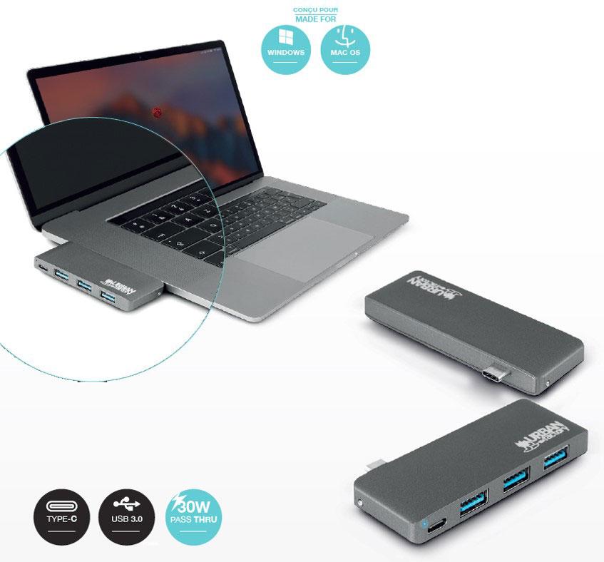 Urban Factory USB TYPE-C Hub avec 3xUSB 3.0