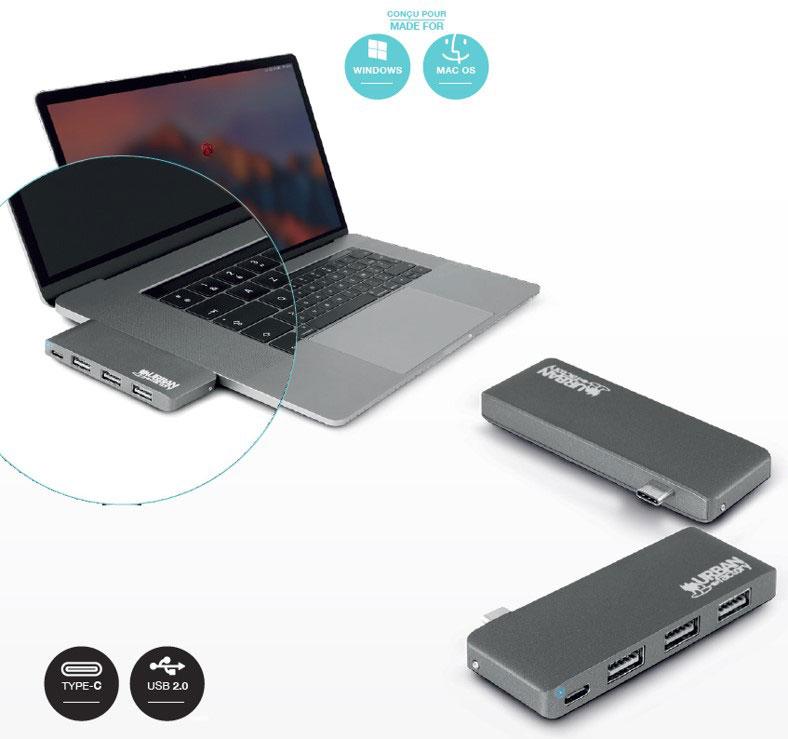 Urban Factory USB TYPE-C Hub avec 3xUSB 2.0