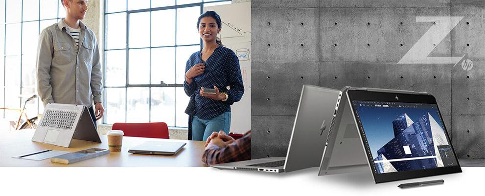 utilisation du HP Zbook studio x360 en salle de réunion